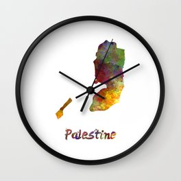 Palestine in watercolor Wall Clock