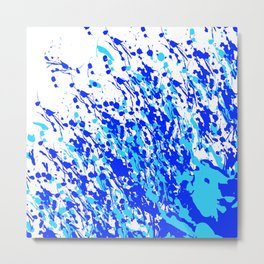 Splash and Drip Art Blue Metal Print