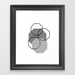 Geometric - Hexagon, Black Mixed Pattern Framed Art Print