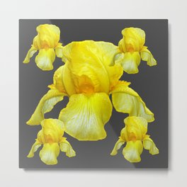 YELLOW SPRING IRIS  BOTANICALS ON GREY Metal Print