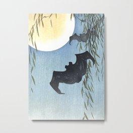 Bats, Willow Tree and The Full Moon - Vintage Japanese Woodblock Print Art Metal Print
