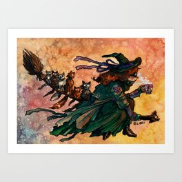 Flying Cat Witch Art Print