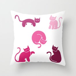 Cute Cat Sketches - Stylized Kitten Silhouettes - Pinks Throw Pillow