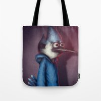 regular show Tote Bags featuring Mordecai from Regular Show by Chuck Jackson
