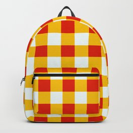 Red White Yellow Checkerboard Pattern Backpack
