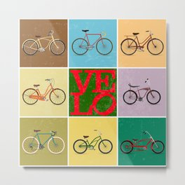 Velo Love – 8 Bikes - June 12th – 200th Birthday of the Bicycle Metal Print