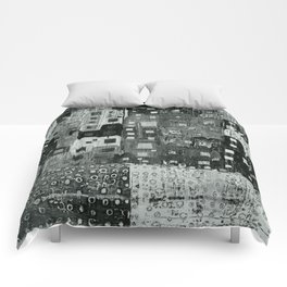 City Grid Pattern in Grays Comforters