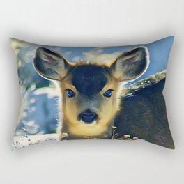 Blue Baby Deer in Winter Light by CheyAnne Sexton Rectangular Pillow