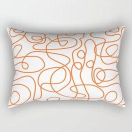 Doodle Line Art | Persimmon / Burnt Orange Lines on White Background Rectangular Pillow