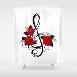 Black Musical Key with Red Roses Shower Curtain