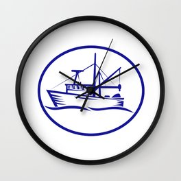 Commercial Fishing Boat Oval Woodcut Wall Clock