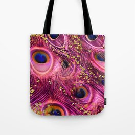 Pink Peacock Feathers Tote Bag