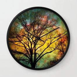 Golden Sunset Treescape Wall Clock