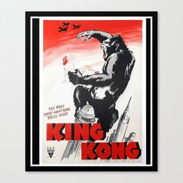 Vintage 1933 Version of RKO's King Kong Movie Cinema Poster Wall Art Canvas Print