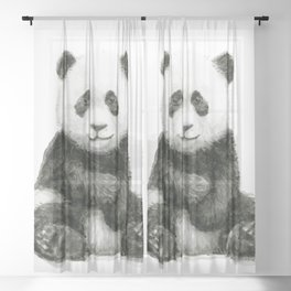 Panda Baby Watercolor Sheer Curtain