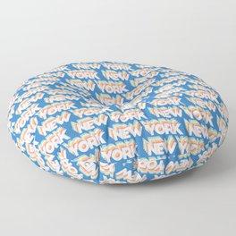New York, USA Trendy Rainbow Text Pattern (Blue) Floor Pillow