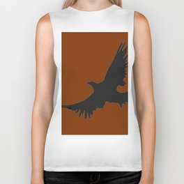 COFFEE BROWN FLYING BIRD SILHOUETTE Biker Tank