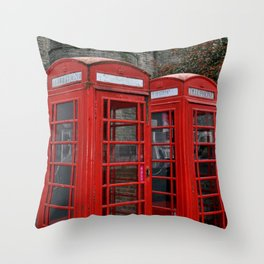 Phone Boxes in Canterbury Throw Pillow