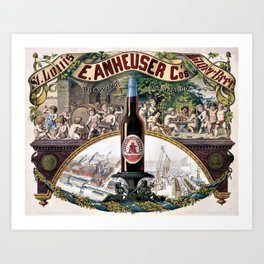 Vintage 1879 St. Louis Anheuser Brewing Lithograph Wall Art Art Print