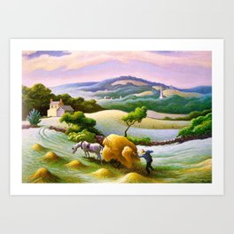 Classical Masterpiece 'Chilmark Hay' by Thomas Hart Benton Art Print