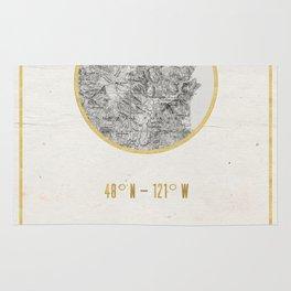 Mount Baker Washington Location Map Print Rug