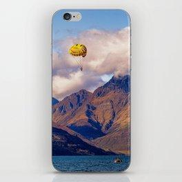 Parasailing on Wakatipu lake, Queenstown, New Zealand iPhone Skin