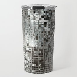 Abstract Silver Sequins. Glamour pattern with silver geometric shapes glitter texture, luxury illustration. Travel Mug