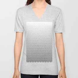 Black And White Fade Ombre Shaded Wave Unisex V-Neck