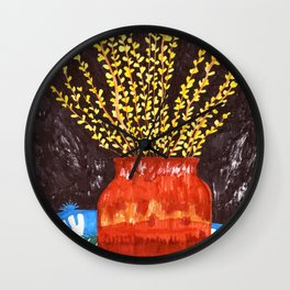 Forsythia in Amber Glass Wall Clock