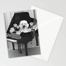 Piano Music Poodle Lotos Flowers black & white Stationery Cards