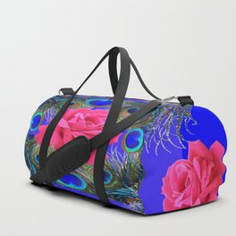 CONTEMPORARY PINK ROSES & PEACOCK FEATHERS BLUE ART Duffle Bag