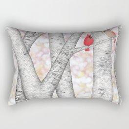 cardinals and birch trees Rectangular Pillow