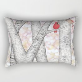 cardinals and birch trees Rectangular Pillow