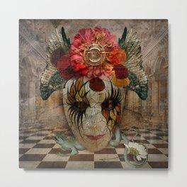Venetian Mask in Fantasy World Metal Print