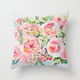 Cottage chic pink peony bouquet Throw Pillow
