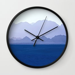 Mountains Range in Shades of Blue Wall Clock