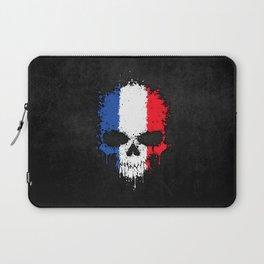 Flag of France on a Chaotic Splatter Skull Laptop Sleeve
