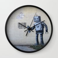banksy Wall Clocks featuring Banksy Robot (Coney Island, NYC) by Limitless Design