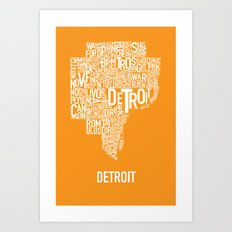 Detroit typography map poster - Orange Art Print