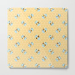 Cute Little Bees Pattern on Honeycomb Background Metal Print