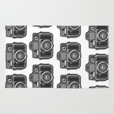 I Still Shoot Film Holga Logo - Black and White Rug