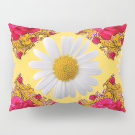 PINK ROSE & WHITE DAISIES YELLOW GARDEN ART Pillow Sham