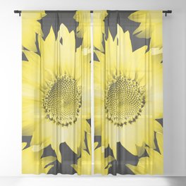 Yellow Sunflowers On Black #decor #society6 #buyart Sheer Curtain