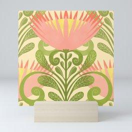 King Protea Flower Pattern - yellow Mini Art Print
