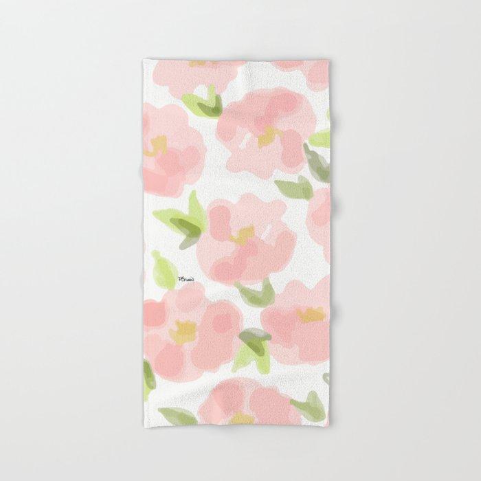 Floral watercolor pattern - pink roses Hand & Bath Towel