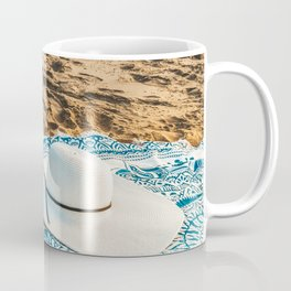 Travel Photography, White Beach Hat, Summer Vacation, Holiday Time, Beauty Accessories, Ocean Decor Coffee Mug
