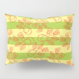 Abstract Petals on Light Yellow and Green Pillow Sham