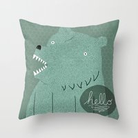 bear Throw Pillows featuring Friendly Bear by Sarajea