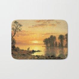 Albert Bierstadt, Sunset, Deer and River. Landscape oil painting fine art. Bath Mat