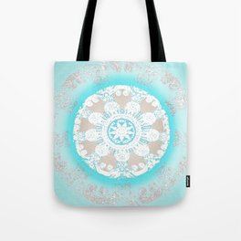 Soft Peace Aqua Mandala Tote Bag